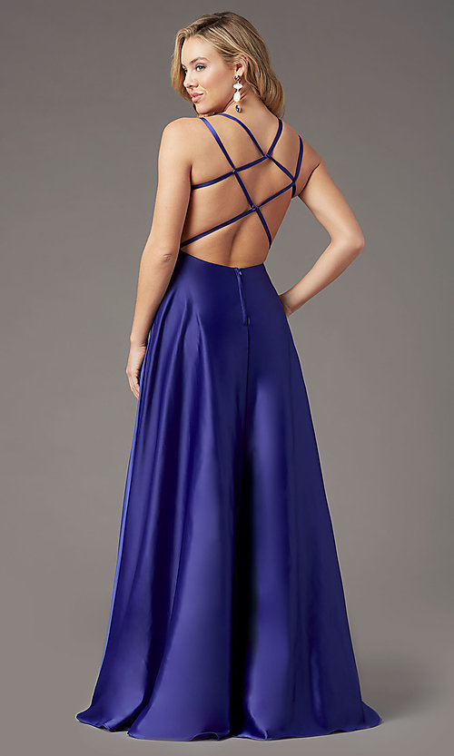Image of strappy-open-back satin long prom dress by PromGirl. Style: PG-F2012 Detail Image 4