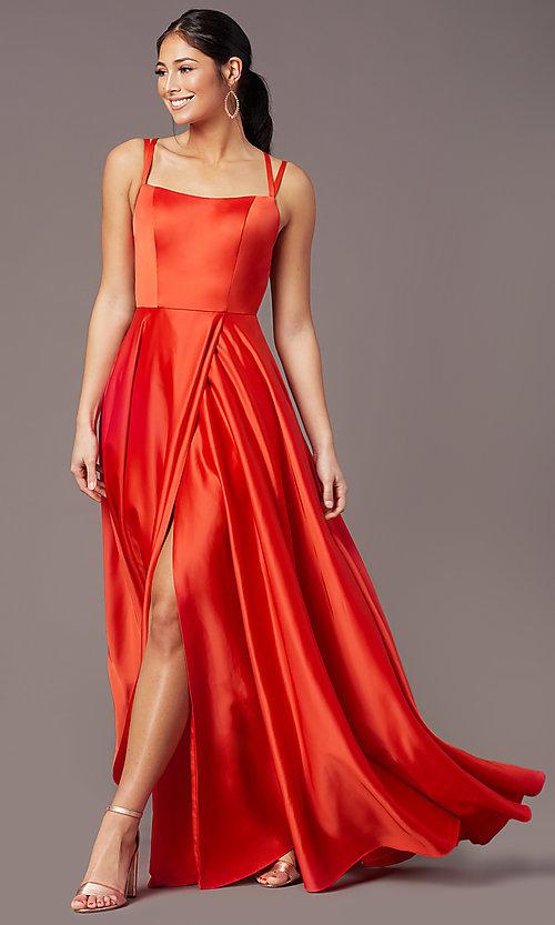 Image of strappy-open-back satin long prom dress by PromGirl. Style: PG-F2012 Detail Image 6