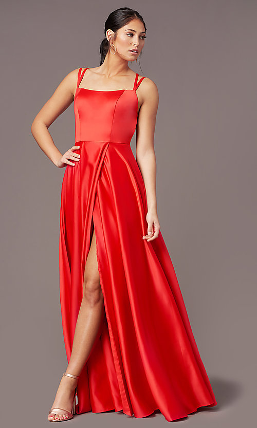 Image of strappy-open-back satin long prom dress by PromGirl. Style: PG-F2012 Front Image