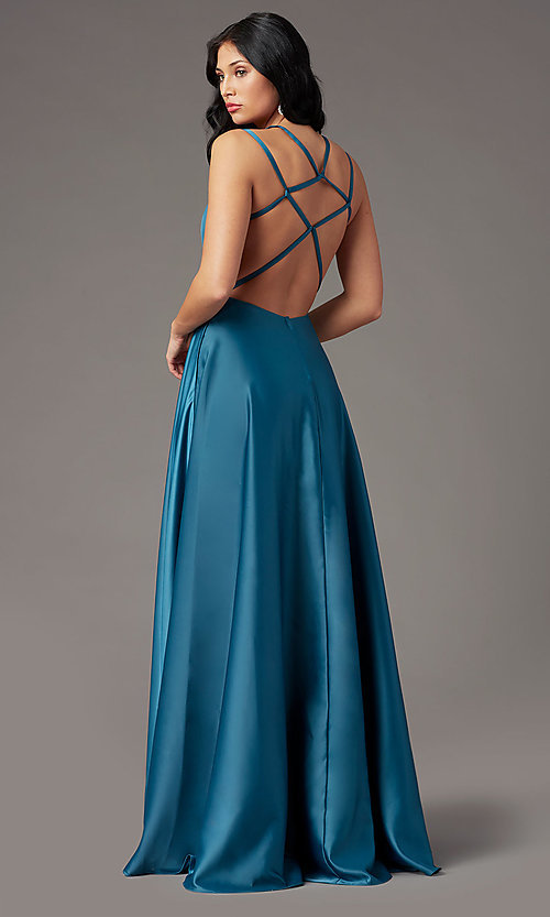 Image of strappy-open-back satin long prom dress by PromGirl. Style: PG-F2012 Back Image