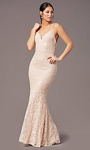 Image of long sequin-mesh open-back prom dress by PromGirl. Style: PG-F2020 Front Image