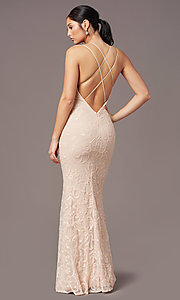 Image of long sequin-mesh open-back prom dress by PromGirl. Style: PG-F2020 Back Image