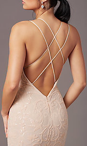 Image of long sequin-mesh open-back prom dress by PromGirl. Style: PG-F2020 Detail Image 1