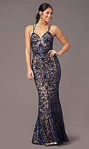 Image of long sequin-mesh open-back prom dress by PromGirl. Style: PG-F2020 Detail Image 6