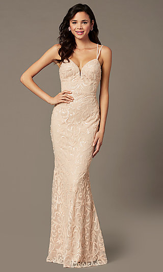 Long Sequin Mesh Open Back Prom Dress by PromGirl