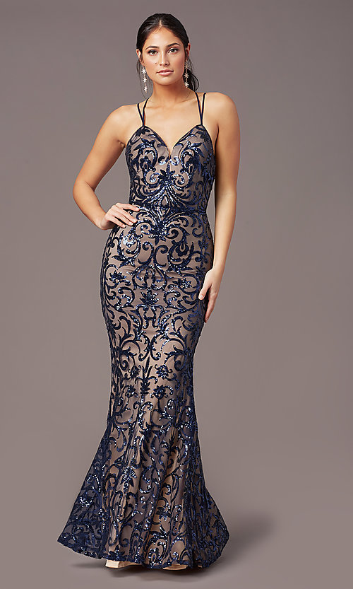 Image of long sequin-mesh open-back prom dress by PromGirl. Style: PG-F2020 Detail Image 3
