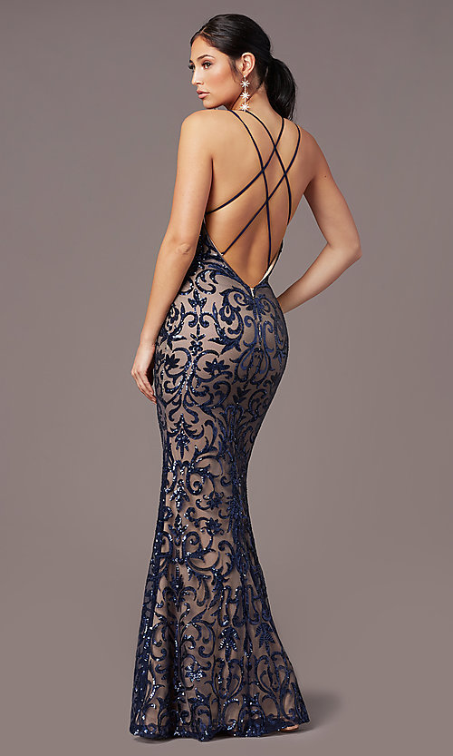 Image of long sequin-mesh open-back prom dress by PromGirl. Style: PG-F2020 Detail Image 4