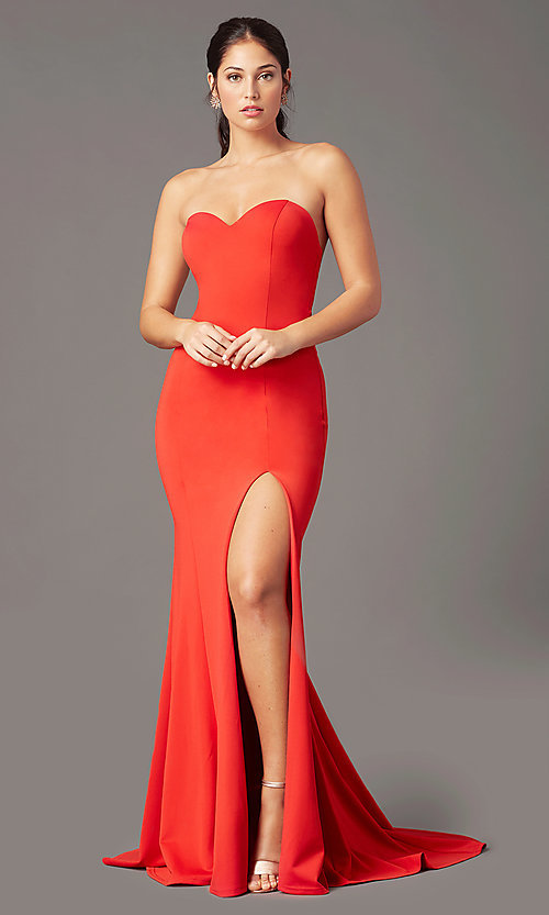 Image of strapless sweetheart long prom dress by PromGirl. Style: PG-F2023 Front Image