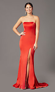 Image of strapless satin PromGirl prom dress with train. Style: PG-F2024 Detail Image 6