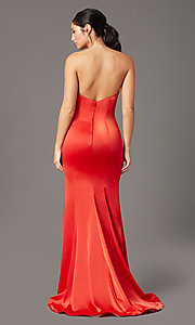 Image of strapless satin PromGirl prom dress with train. Style: PG-F2024 Detail Image 7