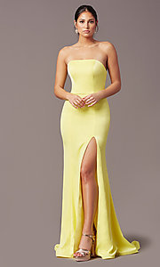 Image of strapless satin PromGirl prom dress with train. Style: PG-F2024 Detail Image 2