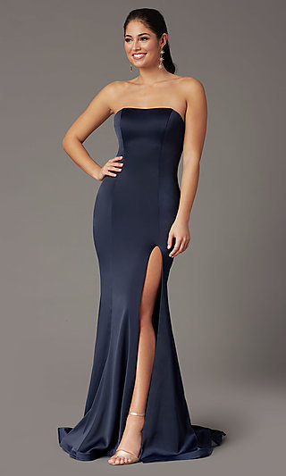 Strapless Satin PromGirl Prom Dress with Train