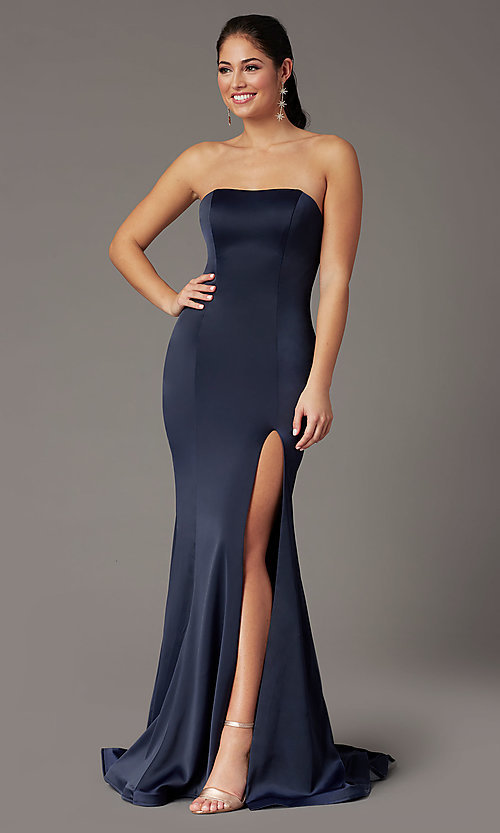 Image of strapless satin PromGirl prom dress with train. Style: PG-F2024 Front Image