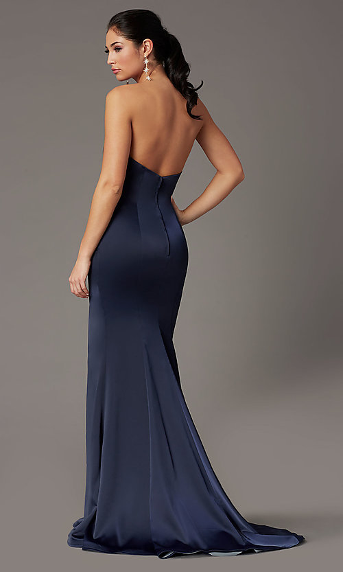 Image of strapless satin PromGirl prom dress with train. Style: PG-F2024 Back Image
