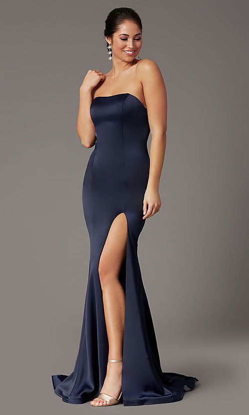 Image of strapless satin PromGirl prom dress with train. Style: PG-F2024 Detail Image 1