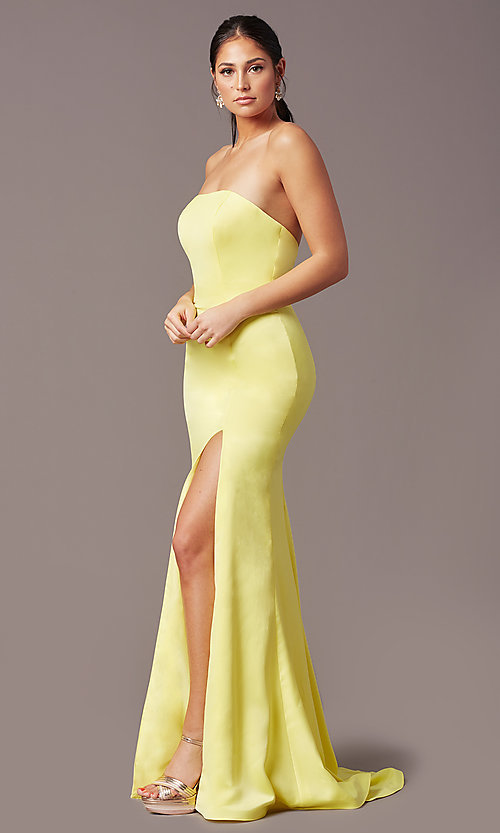 Image of strapless satin PromGirl prom dress with train. Style: PG-F2024 Detail Image 5