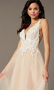 Image of PromGirl embroidered-bodice v-neck long prom dress. Style: PG-F2026 Detail Image 1