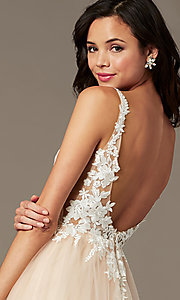 Image of PromGirl embroidered-bodice v-neck long prom dress. Style: PG-F2026 Detail Image 2