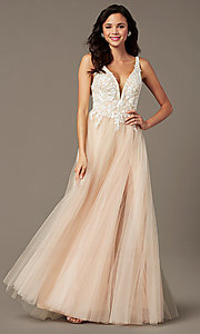 Image of PromGirl embroidered-bodice v-neck long prom dress. Style: PG-F2026 Front Image