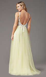 Image of PromGirl embroidered-bodice v-neck long prom dress. Style: PG-F2026 Detail Image 5