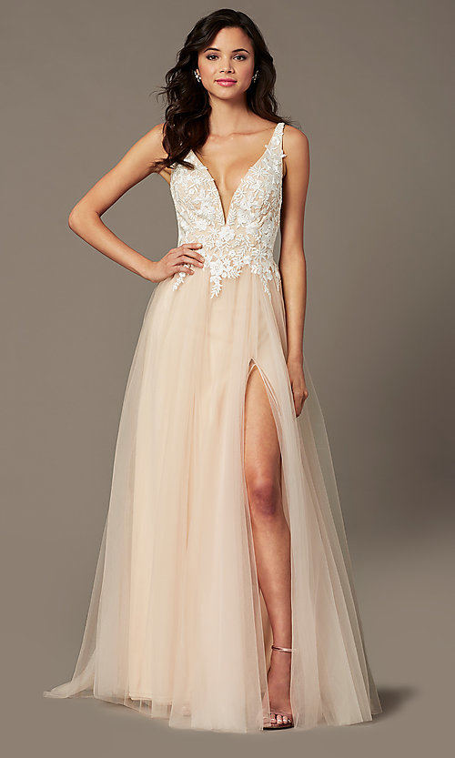Image of PromGirl embroidered-bodice v-neck long prom dress. Style: PG-F2026 Detail Image 3