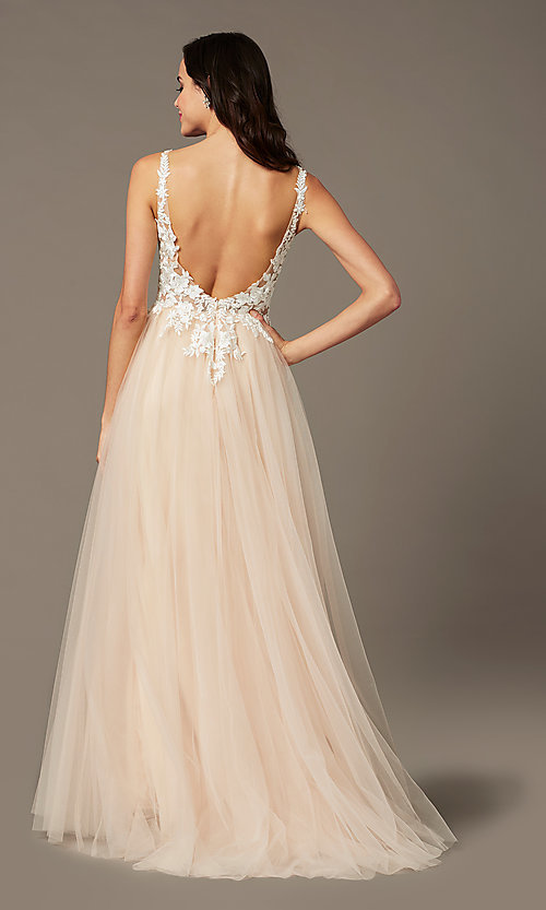 Image of PromGirl embroidered-bodice v-neck long prom dress. Style: PG-F2026 Back Image