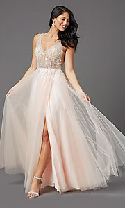 Image of sheer-bodice long prom ball gown by PromGirl. Style: PG-F2029-1 Detail Image 3