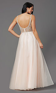 Image of sheer-bodice long prom ball gown by PromGirl. Style: PG-F2029-1 Back Image