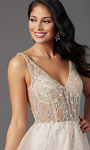 Image of sheer-bodice long prom ball gown by PromGirl. Style: PG-F2029-1 Detail Image 1