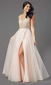 Image of sheer-bodice long prom ball gown by PromGirl. Style: PG-F2029-1 Detail Image 2