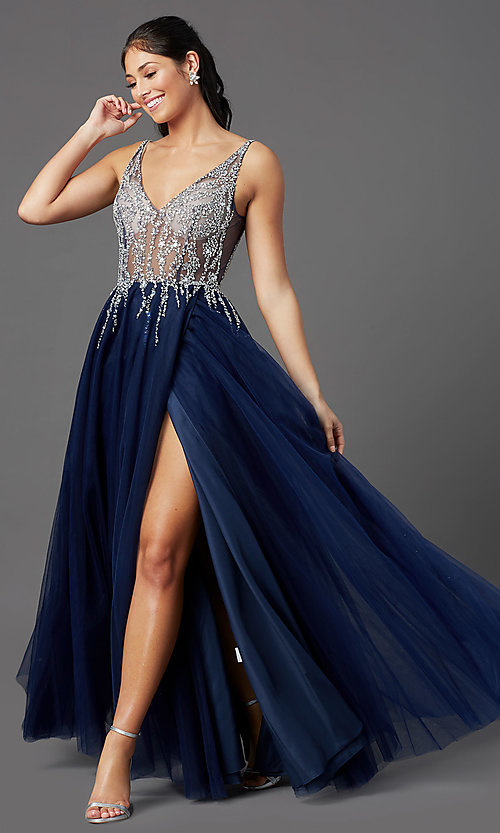 Image of sheer-bodice long prom ball gown by PromGirl. Style: PG-F2029-1 Front Image