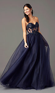 Image of strapless sweetheart PromGirl long prom dress. Style: PG-F2031 Front Image