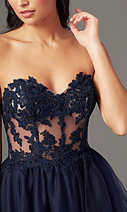 Image of strapless sweetheart PromGirl long prom dress. Style: PG-F2031 Detail Image 1