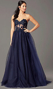 Image of strapless sweetheart PromGirl long prom dress. Style: PG-F2031 Detail Image 2