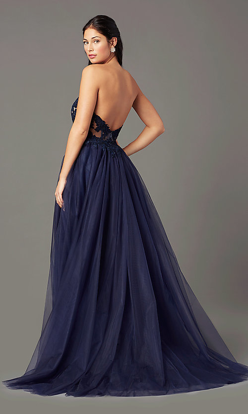 Image of strapless sweetheart PromGirl long prom dress. Style: PG-F2031 Back Image