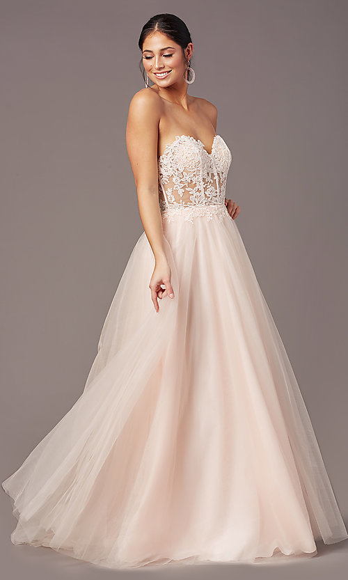 Image of strapless sweetheart PromGirl long prom dress. Style: PG-F2031 Detail Image 3