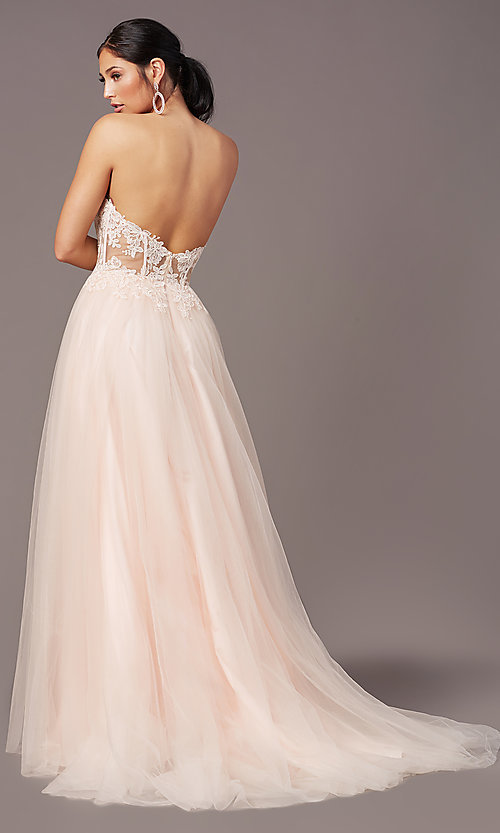 Image of strapless sweetheart PromGirl long prom dress. Style: PG-F2031 Detail Image 4
