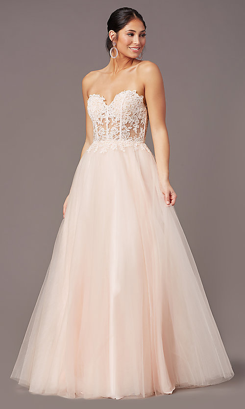 Image of strapless sweetheart PromGirl long prom dress. Style: PG-F2031 Detail Image 6