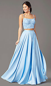 Image of long two-piece prom dress by PromGirl. Style: PG-F2038 Detail Image 2