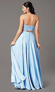 Image of long two-piece prom dress by PromGirl. Style: PG-F2038 Detail Image 3