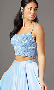 Image of long two-piece prom dress by PromGirl. Style: PG-F2038 Detail Image 4