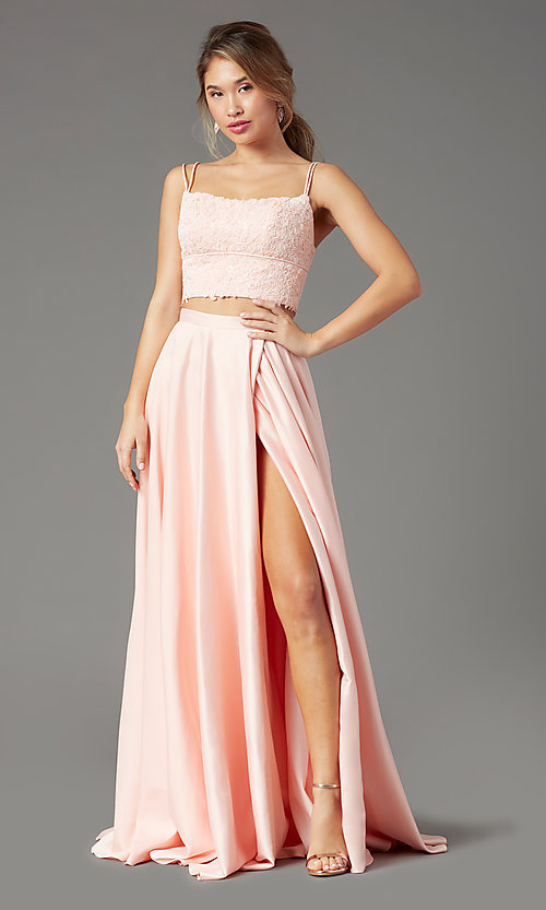 Image of long two-piece prom dress by PromGirl. Style: PG-F2038 Front Image