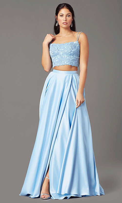 Image of long two-piece prom dress by PromGirl. Style: PG-F2038 Detail Image 5
