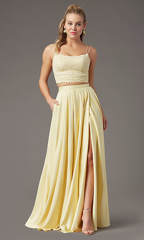 Image of long two-piece prom dress by PromGirl. Style: PG-F2038 Detail Image 6