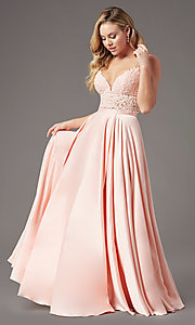 Image of PromGirl two-piece long prom dress with pockets. Style: PG-F2039 Detail Image 6