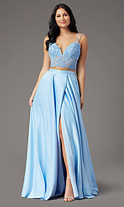Image of PromGirl two-piece long prom dress with pockets. Style: PG-F2039 Detail Image 2