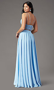 Image of PromGirl two-piece long prom dress with pockets. Style: PG-F2039 Back Image