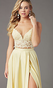 Image of PromGirl two-piece long prom dress with pockets. Style: PG-F2039 Detail Image 5