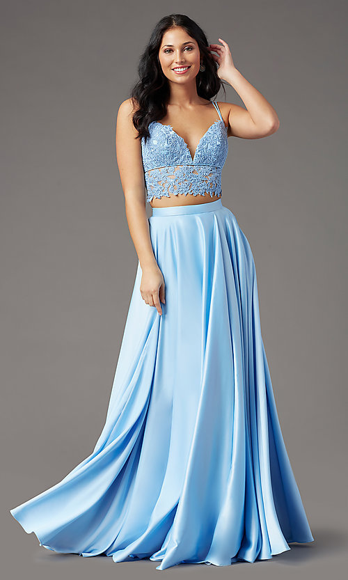 Image of PromGirl two-piece long prom dress with pockets. Style: PG-F2039 Front Image