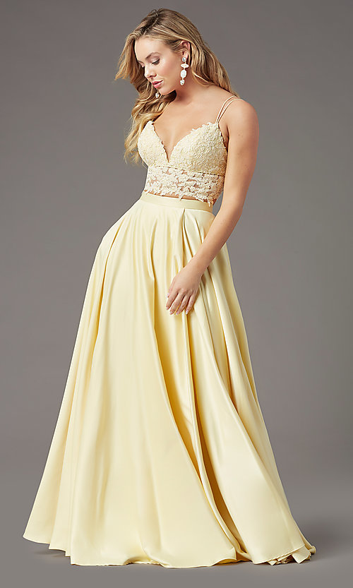 Image of PromGirl two-piece long prom dress with pockets. Style: PG-F2039 Detail Image 3